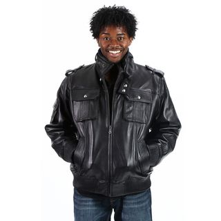 United Face Mens Lambskin Leather Military Bomber Jacket