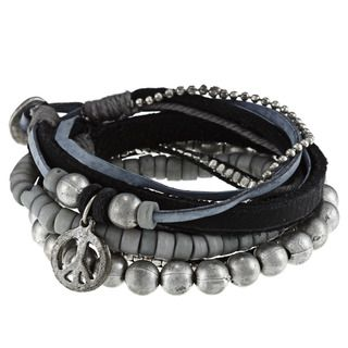 Silvertone and Leather Band Berit Peace Charm Bracelet