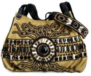Mary Frances Medusa Yellow & Black Beaded Day Handbag