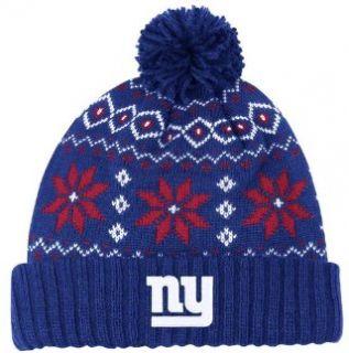 NEW YORK GIANTS Womens Chunky Pom Cuffed Knit Beanie Hat