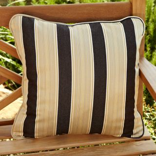 Clara Brown/ Gold Stripe 22 inch Square Outdoor Sunbrella Pillows (Set