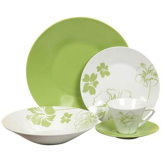 Casa Cortes Tropical Flower 20 piece Dinnerware Set
