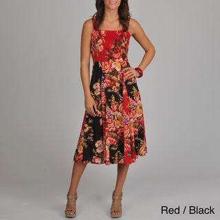 La Cera Womens Floral Print Smocked Top Maxi Dress