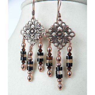 Palmtree Gems Magdalena Copper and Agate Dangle Earrings