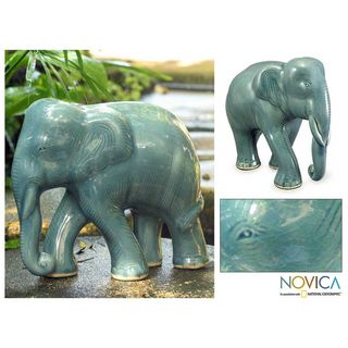 Celadon Ceramic Blue Elephant Sculpture (Thailand)