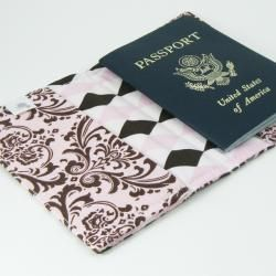 Gracie Designs Pink and Chocolate Brown Damask Passport Cover