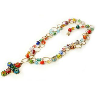 Swee Romance Millefiori Glass Beads Cross Necklace