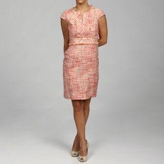 Ellen Tracy Womens Coral Short sleeve Tweed Dress