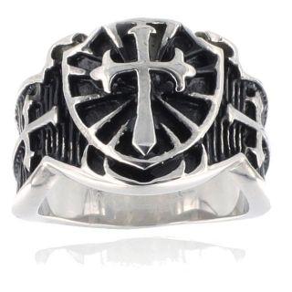 Stainless Steel Raised Cross Black Ring