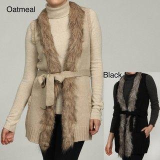 RXB Womens Faux Fur Trim Vest Sweater