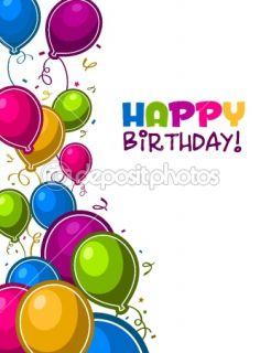 Happy Birthday Balloons Card  Stock Vector © Michel Marcoux #7536922