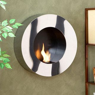 Round Stainless Steel Wall mount Fireplace