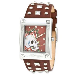 Ed Hardy Womens Luci Skull Rose Watch