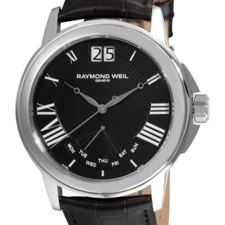 Raymond Weil Mens Tradition Black Face Day Date Watch