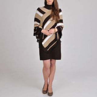 Lennie for Nina Leonard Womens Sweater Dress Striped Poncho