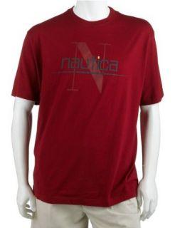 Nautica Mens Short Sleeve Shadow N Tee Shirt, Red, Large