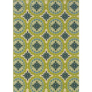 Green/Ivory Outdoor Area Rug (53 x 76)