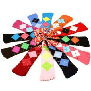 Ladies Cute Warm Toe Socks 12 Pairs Argyle Plaid Crew