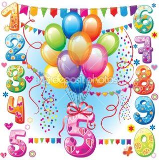 Happy Birthday balloons and numbers  Stock Vector © Viktoria Protsak