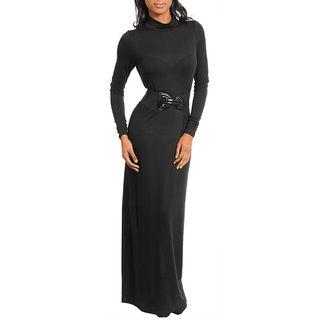 Stanzino Womens Black Belted Long Dress