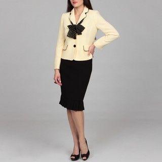 Evan Picone Womens 3 button Pleated Hem Skirt Suit