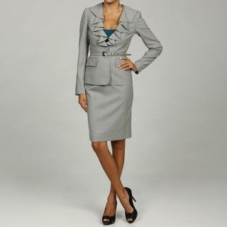 Anne Klein Womens Ruffle Belted Skirt Suit