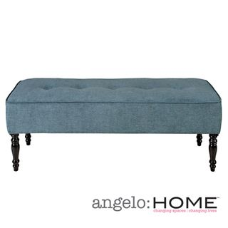 angeloHOME Brighton Hill Parisian Blue Evening Velvet Large Bench
