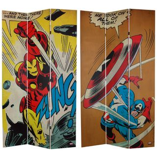 Foot Tall Double Sided Captain America/Iron Man Canvas Room Divider