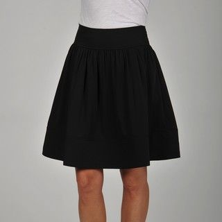 Apart Womens Black Gathered Full Skirt