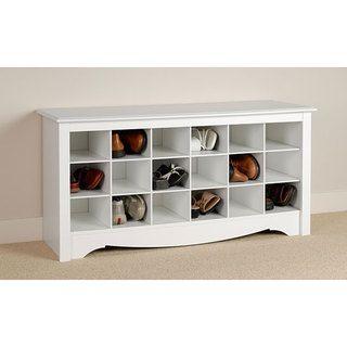Winslow   Banco de almacenamiento con estantes para zapatos, blanco
