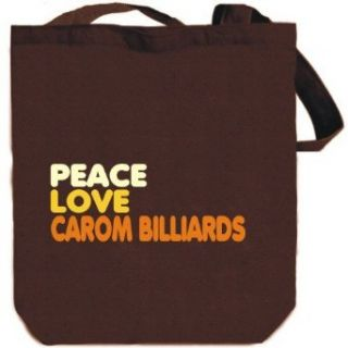 PEACE , LOVE AND Carom Billiards Brown Canvas Tote Bag