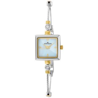 Anne Klein Womens Silver Stainless Steel Quartz Watch with Mother Of