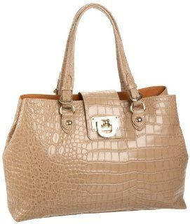 DKNY Croc Embossed Leather Work Shopper,Chino,one size Shoes
