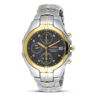 Seiko Womens Excelsior Chronograph Two tone Stainless Steel Watch