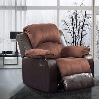 Pamela Two tone Brown Microfiber/ Faux Leather Recliner