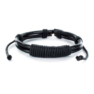 Black Leather Multi cord Bracelet