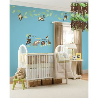 WallPops Monkeying Around Vinyl Wall Art and Chandelier Bundle