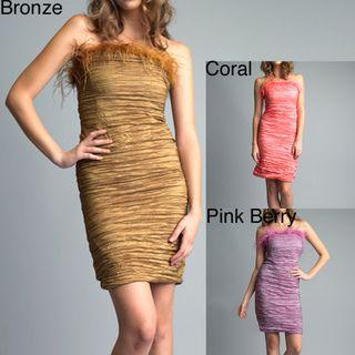 Issue New York Womens Crinkled Taffeta Feather Dress