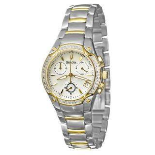 Bulova Womens Diamonds Two tone Steel Chronograph Quartz Watch