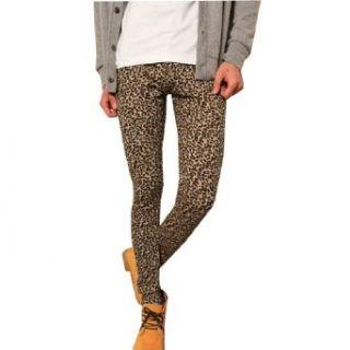 Allegra K Mens Elastic Waist Leopard Prints Pants Leggings