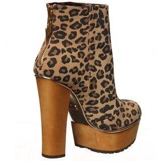 Betsey Johnson Womens Maybill Leopard Platform Booties