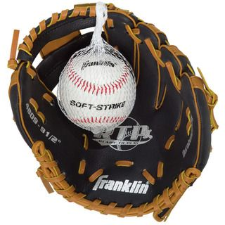 Franklin 9.5 inch Black/ Tan Tee ball Glove with Ball