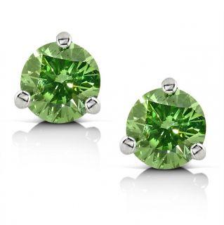 14k White Gold 1ct TDW Green Diamond Stud Earrings