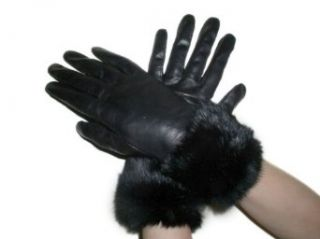 Fownes Womens Black Lambskin Leather Gloves w/Black