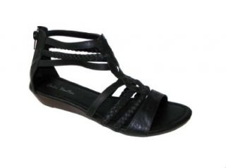 Roman Gladiator Sandals Flats Shoes Braided (8, Black Neta) Shoes
