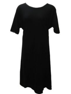Short Sleeve Solid Black Cotton Nightgown Plus Size 4X