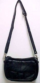 Black Napa Leather Shoulder Bag Satchel Ride Bag Biker: Shoes