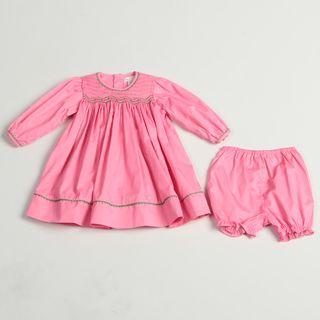 Petit Ami Infant Girls Pink Trim Dress