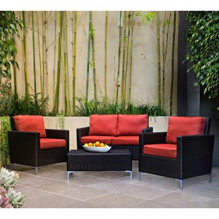 angeloHOME Napa Springs Tulip Red 4 Piece Indoor/Outdoor Wicker Arm
