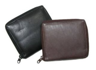 Mens Leather Zip Around Credit Card Hipster Wallet